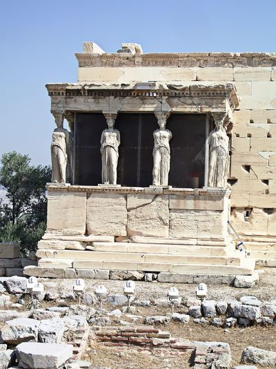 Acropolis Blue And White Old Building  Old Buildings Scenic Scenics Sky Statue Statues Statues And Monuments