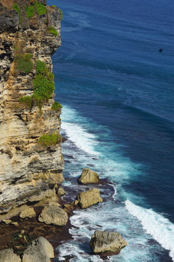 High angle view of cliff and sea