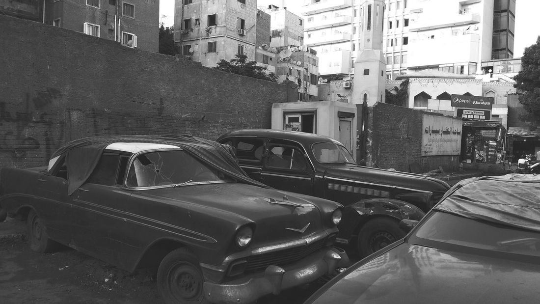 Old cars, Agouza, Cairo, Egypt Land Vehicle Car Technology Architecture Building Exterior Built Structure
