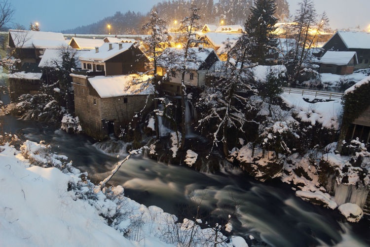 Waterfalls and watermills in rastoke in winter, croatia