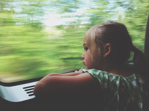 One Person Childhood Real People Child Train Travel Thoughts Thoughtful Girl Daughter