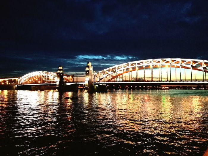 Saint-Petersburg one love Night City Water Illuminated Sky Architecture Built Structure River Bridge
