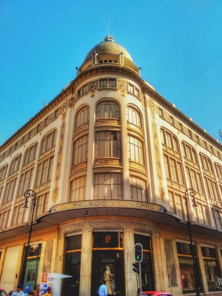 """Palacio de Hierro Centro CDMX (famous store called """"Palacio de Hierro"""" (Iron Palace)) Mexico City. Architecture Building Exterior City Sky Clear Sky Outdoors Façade History No People Day Mexico First Eyeem Photo Best EyeEm Shot Best Shots EyeEm Best Of EyeEm Low Angle View Mexico Travel Best Eyem Photo Best Eyeem Pics Colors Architecture Photography Adapted To The City The City Light"""