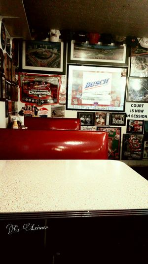 Diner in Illinois Diner 50's Style Food Restaurant Decor Booths Red Booth Signs