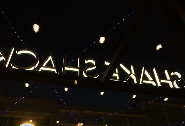 Everything can be seen in a different light Letters Different Perspective Lights In The Dark Illuminated Behind Look Up Restaurant Illuminated Night Lighting Equipment Communication Text Low Angle View Moon No People Hanging Built Structure Outdoors Architecture Sky Neon HUAWEI Photo Award: After Dark