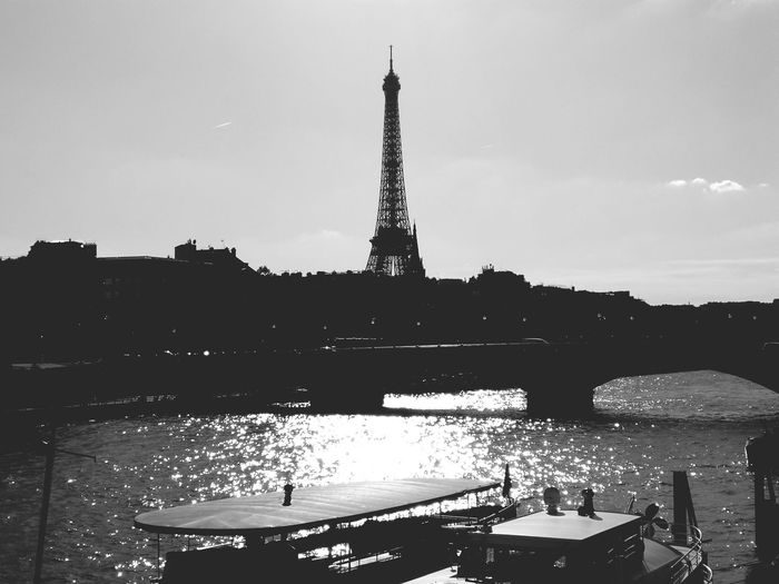 Tower Travel Destinations Architecture Sky Vacations France Paris Paris, France  Autumn 2017 October 2017 Architecture Effiel Tower Tour Eiffel Travel Tourism Downtown District Water Black And White Friday
