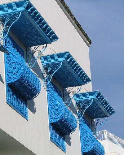 Sidi Bou Said, near Tunis, Tunisia Architecture Blue Day Design Indoors  Tunisia Close-up Sidi Bou Said No People Building Exterior Built Structure A Taste Of Tunisia Window Balconies Blue Balconies