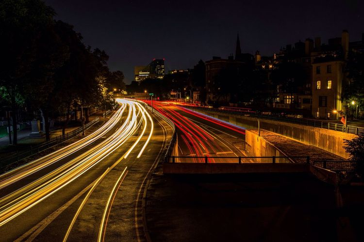 Night Light Trail Illuminated Speed Long Exposure Motion Transportation High Street Road Architecture Street Built Structure City Urban Scene Building Exterior Outdoors No People Cityscape Sky