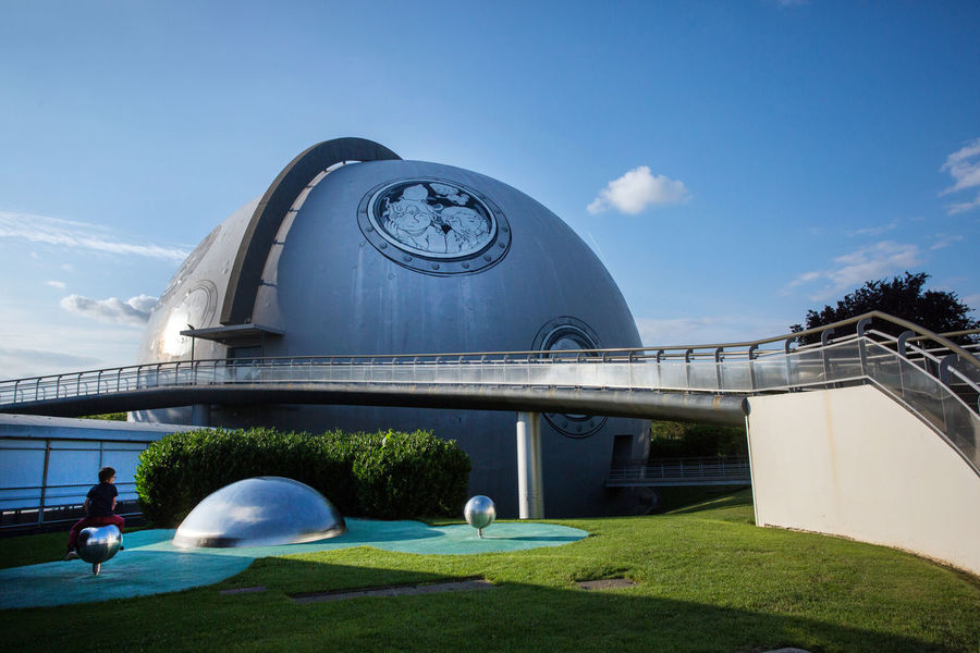 Futuroscope Theme Park Futuroscope Theme Park | Poitiers - France Futuroscope2017 Leisure Park Architecture Blue Building Exterior Built Structure Day Design Fish-eye Lens Grass Modern Nature No People Outdoors Sculpture Sky Statue Swimming Pool Tree Water