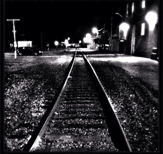 Dark The Dark Landscape Black And White Train Tracks