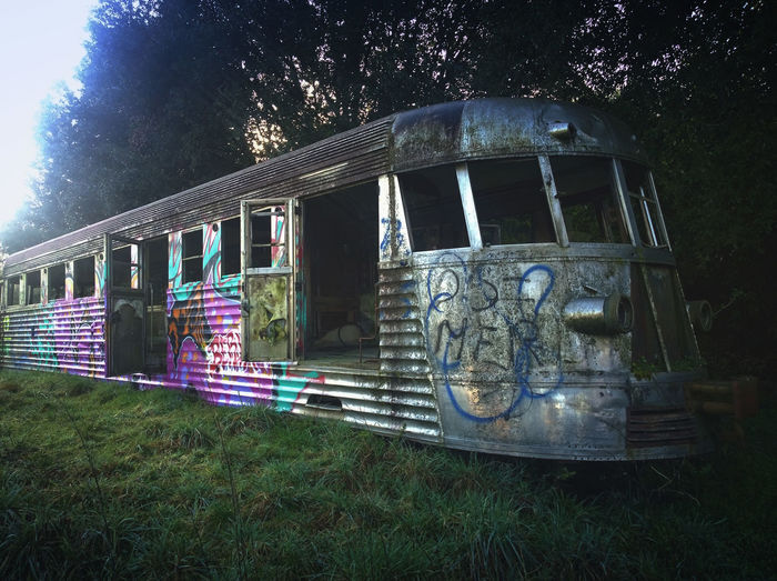 Old Railcar. L'automotrice M2DE.57 abbandonata nel parco della Selva di Paliano (FR). Light And Shadow Taking Photos Train Abandoned Absence Art Creativity Damaged Day Exterior Eye4photography  EyeEm Best Edits EyeEm Gallery Graffiti Leading Metal Mode Of Transport Obsolete Old Rail Car Railcars Structure The Way Forward Trein