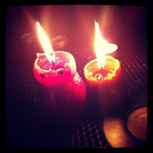 Candle Owl Red Orange Night