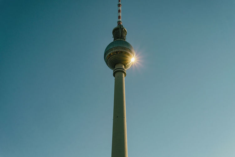 Berlin, Germany, October 14, 2018: Low Angle View of Tv Tower with Reflection Against Clear Sky Berlin Germany 🇩🇪 Deutschland Horizontal Color Image Outdoors No People Low Angle View Sky Clear Sky Architecture Tower Tall - High Built Structure Communication Spire  Technology Reflection Hot Spot Sphere Communications Tower Low Angle View Copy Space Sunbeam Famous Place Spire