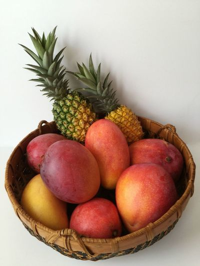 Florida fruit Mangoes Pineapples Fruit Basket Florida Fruit Wood Basket Woven Baskets Ripe Fruit Fruit Still Life