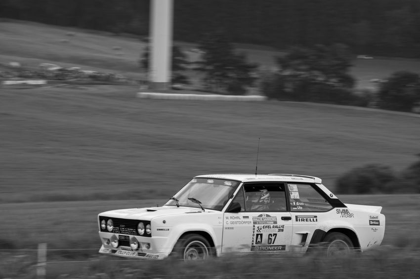 Black And White Fiat Land Vehicle Motorsport Outdoors Rallye Rallye Car Speed Transportation