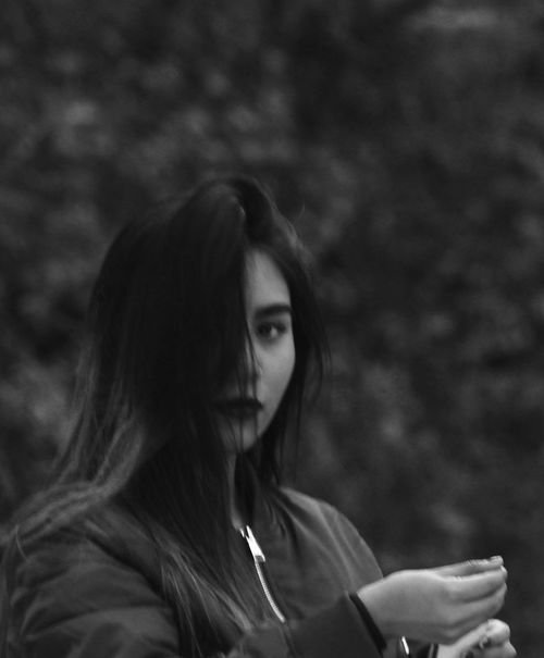 Blackandwhite Close-up First Eyeem Photo Forest Hairstyle Hipster Long Hair One Person Outdoors Photography Portrait Taking Photos Young Women