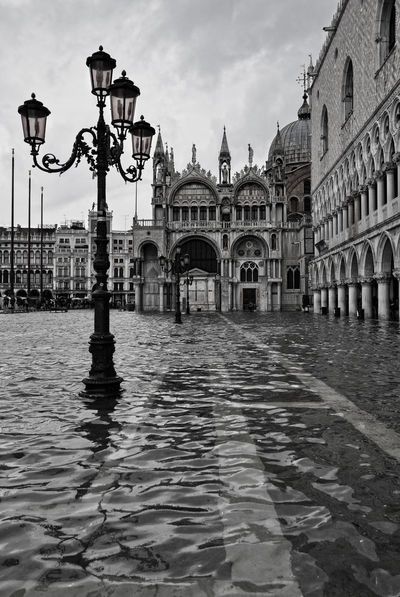 Architectural Column Architecture Blackandwhite Building Built Structure Canal City City Life Cloud Cloud - Sky High Tide High Tide Venice No People Outdoors Piazza San Marco San Marco Square Tourism Venice, Italy Water