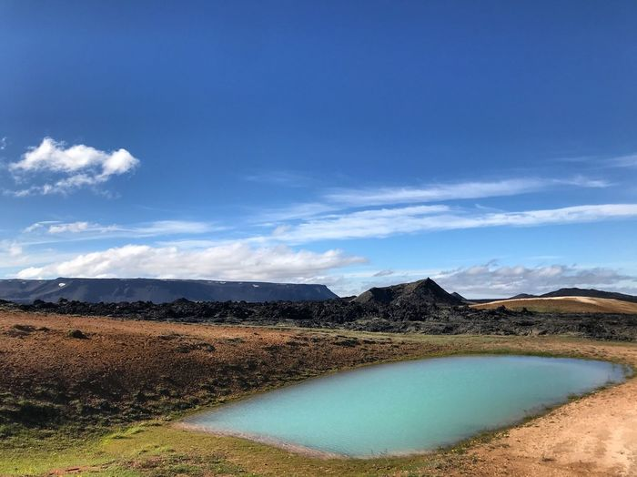 Iceland Beauty In Nature Blue Cloud - Sky Day Environment Lagoon Lake Land Landscape Mountain Mountain Range Nature No People Non-urban Scene Outdoors Scenics - Nature Sky Tranquil Scene Tranquility Travel Destinations Turquoise Colored Volcanic Crater Water