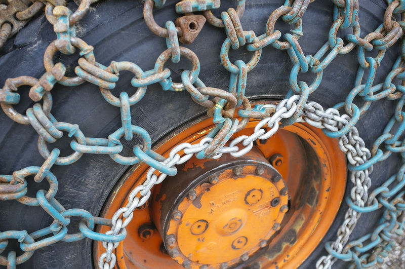 High Angle View Of Chains On Tire