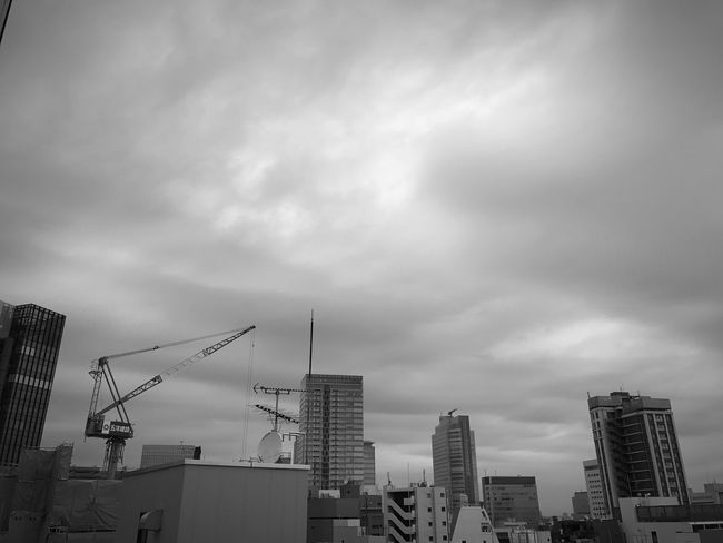 It's kind of chilly today. Architecture Building Exterior Built Structure City Sky Low Angle View Cloud - Sky Modern No People Outdoors Cityscape Skyscraper Construction Day Cloudy EyeEm Blackandwhite Morning Tokyo Blackandwhite Photography Photography