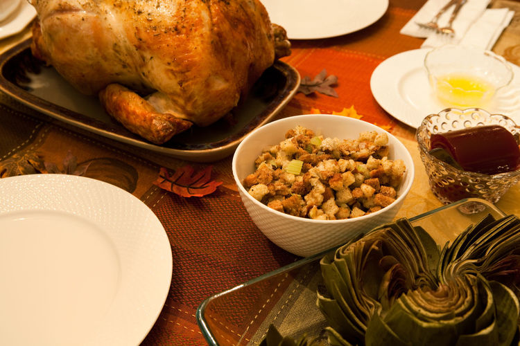 Cooked Food Thanksgiving Thanksgiving Day Thanksgiving Foods Turkey Artichoke Butter Close-up Cooked Food Food And Drink Freshness Healthy Eating Indoors  No People Plate Roasted Stuffing Table Thanksgiving Dinner