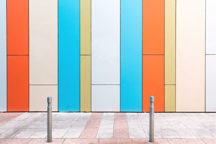 Multi colored wall of building