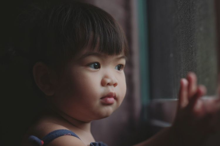 Close-up of cute girl looking through window