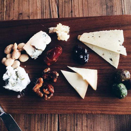 Directly above shot of food on wooden table