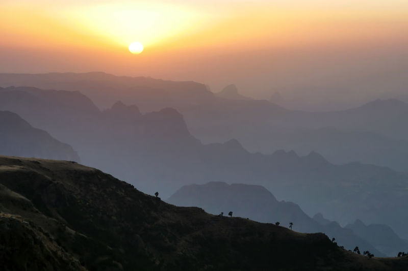 Simien Mountains National Park Ethiopia Africa Landscape Nature Mountain Fog Sunset Mountain Peak Sun Silhouette Morning Sky Nebula