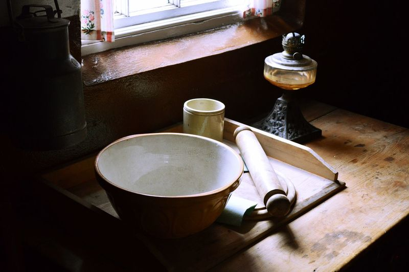 Baking Close-up Empty Freshness Kitchen Mixing Bowl No People Refreshment Retro Rolling Pin Saucer Spoon Still Life Table Victorian Vintage Vintage Kitchen Window Light Home Is Where The Art Is