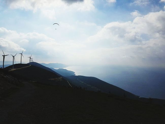 Greece Peleponnes Paragliding View From Above Mountains Nature Wind Power
