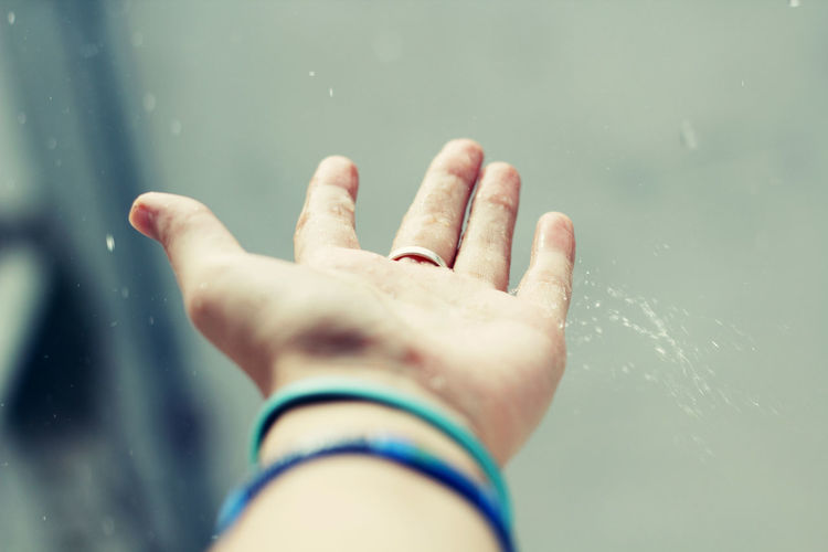 Close-Up Of Wet Hand