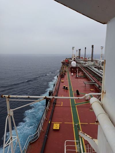 High angle view of ship in sea against sky