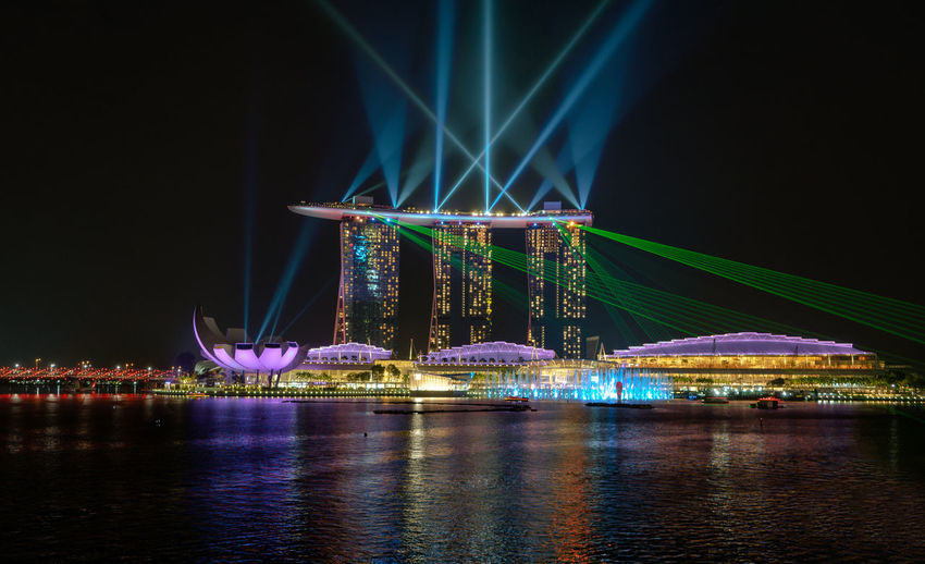 Illuminated Marina Bay Sands By Sea Against Sky