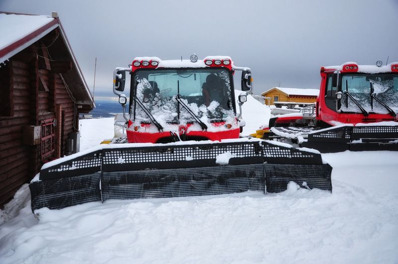 The equipment serving alpine skiing slopes Khibiny Khibiny Mountains Mountains And Sky Mountain View Snowcat Bigwood Big Wood Ski Resort  Alpine Skiing Equipment Transport Cold Temperature Snow Winter Transportation Mode Of Transportation Land Vehicle Nature No People Day Outdoors White Color