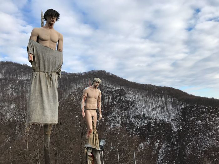 Dracula's Castle EyeEm Selects Shirtless Cloud - Sky Sky Male Likeness Low Angle View Outdoors Standing Day Men Sculpture Statue Nature Young Adult Only Men