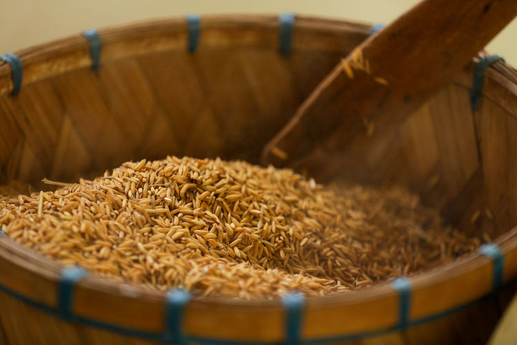High angle view of rice in basket