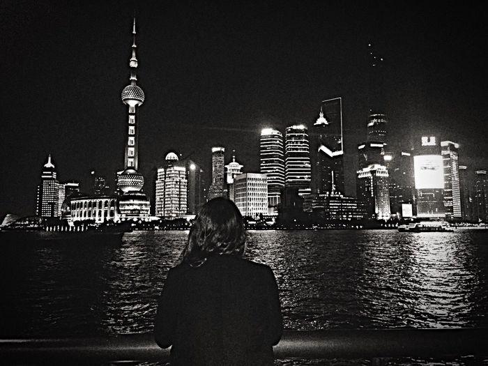 Shanghai Thebund Night View Skyscraper Pearltower Blackandwhite Urban Breathtaking Lovethiscity Perfection China