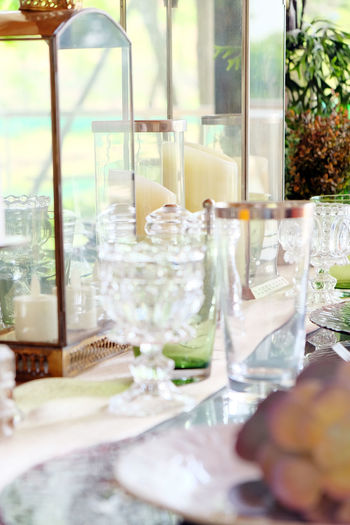 Detail image of Elegant dining table setting Dining Room Elegant Close-up Day Dining Dining Area Dining Table Dining Tables And Chairs Diningroom Drinking Glass Flower Food Food And Drink Freshness Indoors  Nature No People Plate Table Window Wineglass