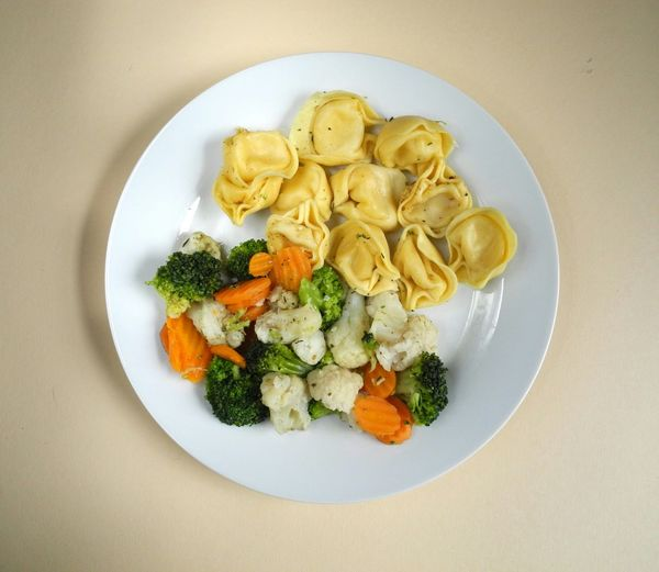 High angle view of dumplings with salad in plate