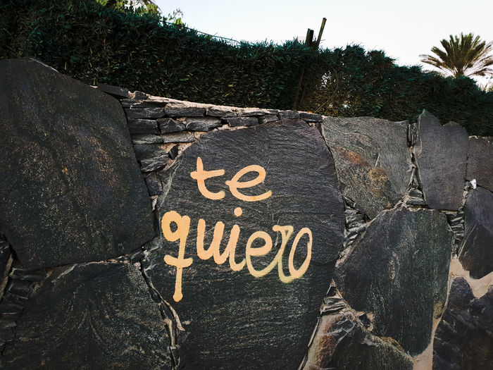 Te quiero Graffiti Copy Space In Front Zoom Wall Stone Wall Love Feeling Emotion Public Art Publication Public Orange Color Writing On The Walls City Marketing Tourism Admit Background Lover Spanish Language Communication Text Sky Close-up Information Information Sign Written Western Script Street Art
