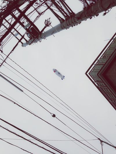 Airship Electric Wire Above Sky