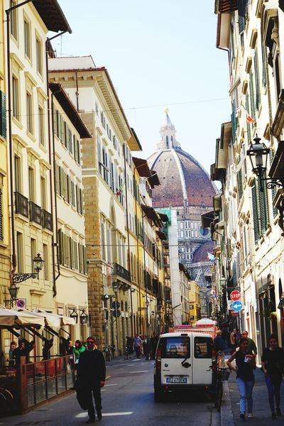 Architecture City Travel Destinations Street Tourism City Street Building Exterior Travel Outdoors Clear Sky Day Sky Awning Adult People Cityscape Adults Only Clock Politics And Government Clock Face Florence Italy Florencia Duomo Di Firenze Duomo Santa Maria Del Fiore