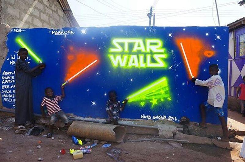 Streetphotography Streetart Marko93 Africa Lights Starwars Starwalls Graffiti Light Saber Accra ghana