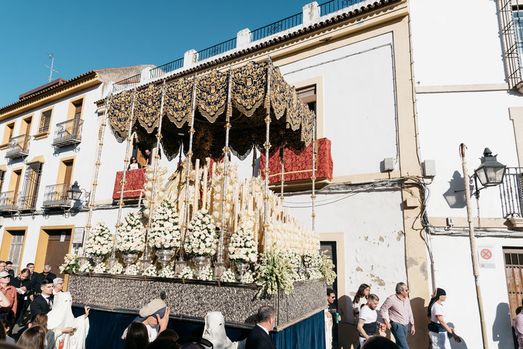 Easter procession in Cordoba Andalusia Catholic Celebration Christian City Cordoba Spain Córdoba Easter Event Holy Week Holy Week Celebrations Nazarenos SPAIN Tradition Travel Easter Week Nazarene Parade Procesiones Procession Religion Religious  Sculpture Traditional