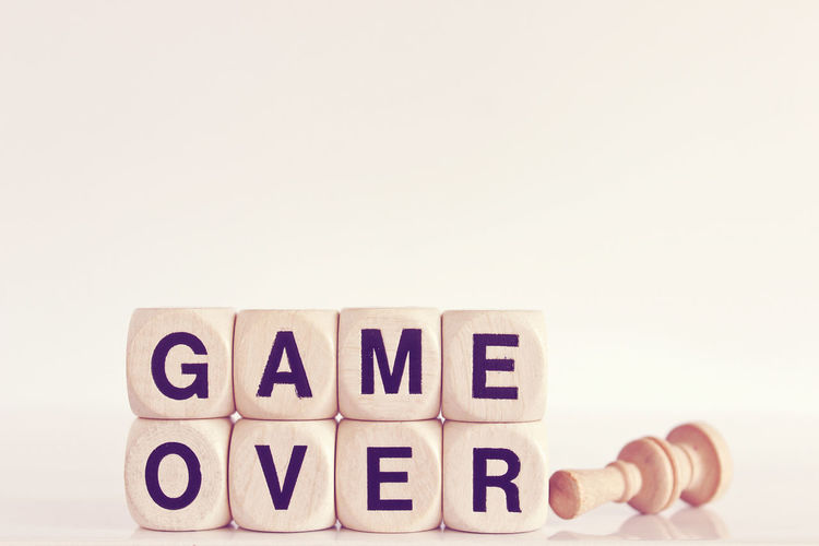 Game over Concept Finished Game Over Game Pieces Phrase Sports Studio Shot The End Words In The Wild