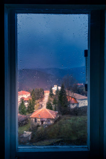 Look through the window Cosy Village Window Window Frame Mountain View Small Rural Houses