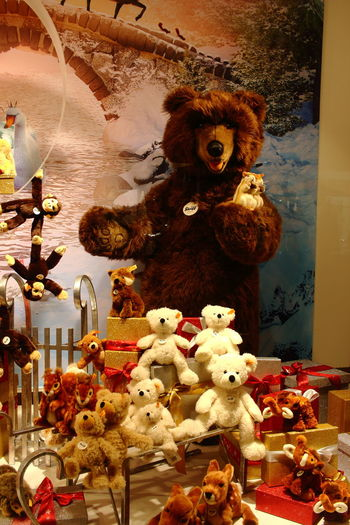 Christmas Presents  Animal Representation Chistmas Time Christmas Close-up Day Indoors  Large Group Of Objects Monkey No People Retail  Steiff Teddy Store Stuffed Toy Teddy Bear