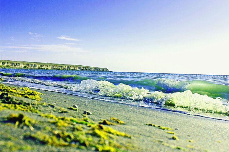 На берегу Каспийского моря. On the shore of the Caspian Sea. Beauty In Nature Scenics Tranquility Blue Landscape Copy Space Nature Non-urban Scene Water Sea Surface Level Sky Day Outdoors Solitude Physical Geography Countryside Geology No People First Eyeem Photo