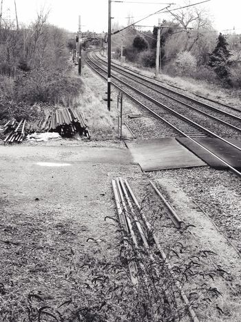 Blackandwhite Level Crossing Train Tracks Trainyard Journey